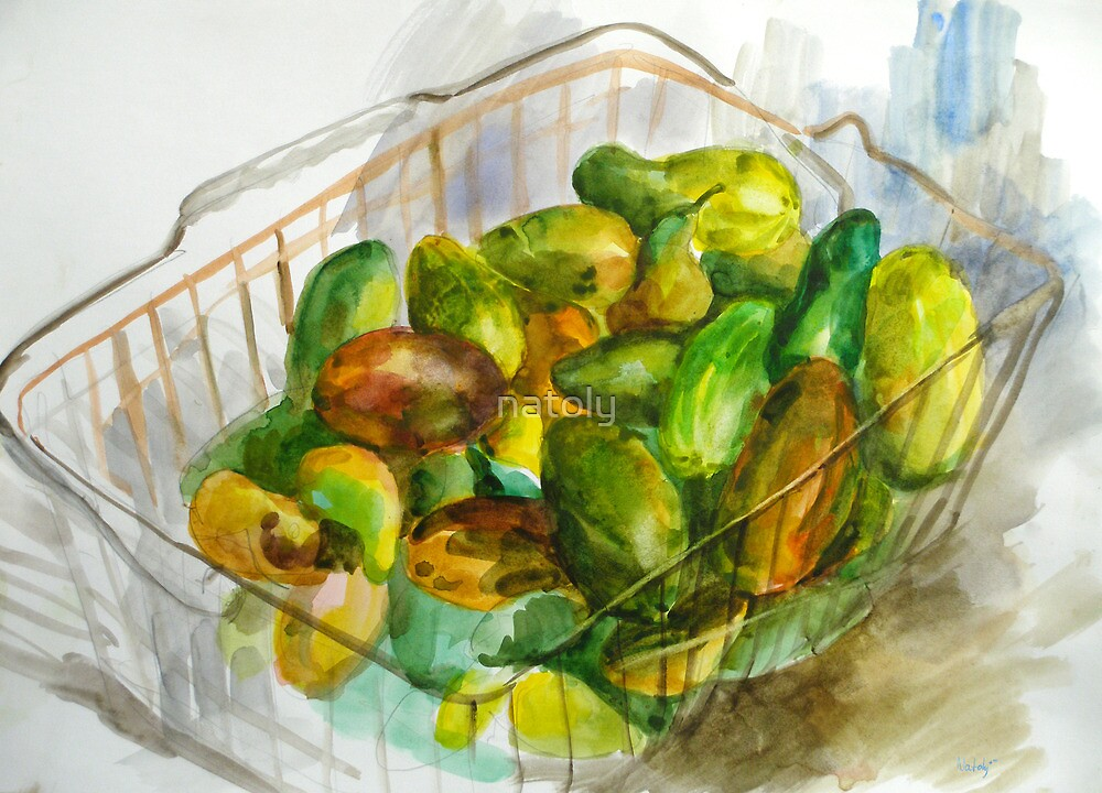 cucumbers in a basket still by natoly