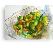 cucumbers in a basket still Canvas Print