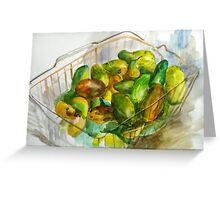 cucumbers in a basket still Greeting Card