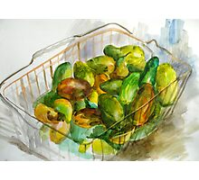cucumbers in a basket still Photographic Print