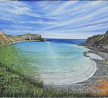 Lulworth Cove on a Bright and Sunny Day. by Annie Lovelass