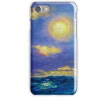 Single Boat On Moonlit Waters iPhone Case/Skin