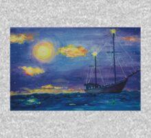 Single Boat On Moonlit Waters One Piece - Short Sleeve