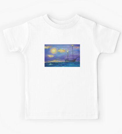 Single Boat On Moonlit Waters Kids Tee