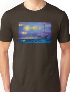 Single Boat On Moonlit Waters Unisex T-Shirt