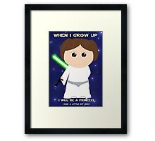 When I grow up, I will be a princess (and a little bit Jedi) Framed Print