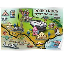 Round Rock Texas Cartoon Map Poster