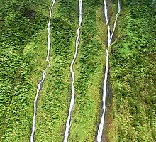 Three Waterfalls near the Napali Coast, Kauai, Hawaii by Michael Brewer