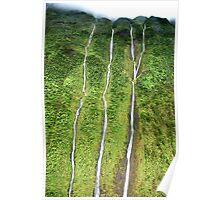 Three Waterfalls near the Napali Coast, Kauai, Hawaii Poster