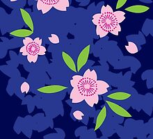 Pink Cherry Blossoms on Blue by Colleen Hernandez