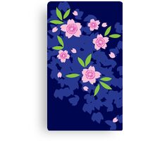 Pink Cherry Blossoms on Blue Canvas Print
