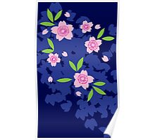 Pink Cherry Blossoms on Blue Poster