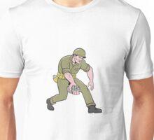 World War Two Soldier American Grenade Cartoon Unisex T-Shirt