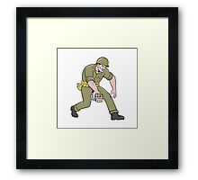 World War Two Soldier American Grenade Cartoon Framed Print