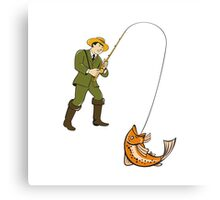 Fly Fisherman Catching Trout Fish Cartoon Metal Print