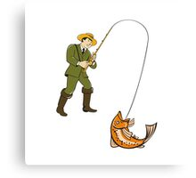 Fly Fisherman Catching Trout Fish Cartoon Canvas Print