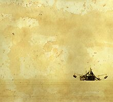 The ship image on the old greased paper by xura