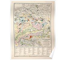 Atlas zu Alex V Humbolt's Cosmos 1851 0150 Swiss and German Land Poster