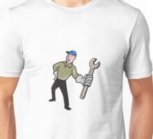 Mechanic Presenting Wrench Cartoon Unisex T-Shirt