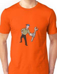 Mechanic Presenting Wrench Cartoon Unisex T-Shirt