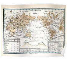 Atlas zu Alex V Humbolt's Cosmos 1851 0172 Bird Habitats of the World Poster