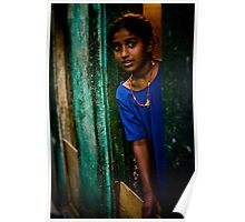 Who is visiting? One of the girls in the slums in Bangalore, India Poster