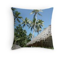 Palm Trees and Thatched Rooves - Mango Bay Throw Pillow