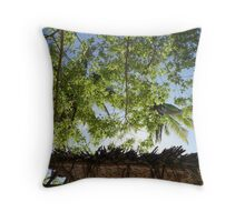 Palm Trees and Thatched Rooves - Robinson Crusoe Island Throw Pillow