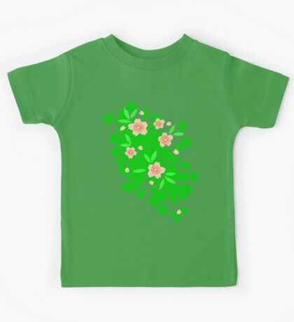 Cherry Blossom - Forest Green Kids Tee