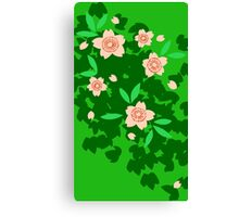 Cherry Blossom - Forest Green Canvas Print