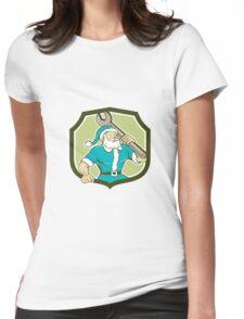 Santa Claus Mechanic Spanner Shield Cartoon Womens Fitted T-Shirt