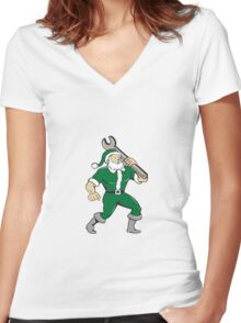 Santa Claus Mechanic Spanner Isolated Cartoon Women's Fitted V-Neck T-Shirt