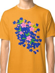 Pink Cherry Blossoms on Blue Classic T-Shirt