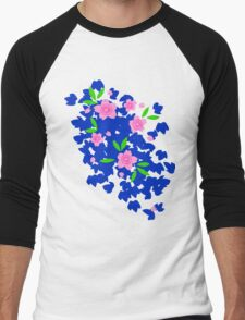 Pink Cherry Blossoms on Blue Men's Baseball ¾ T-Shirt
