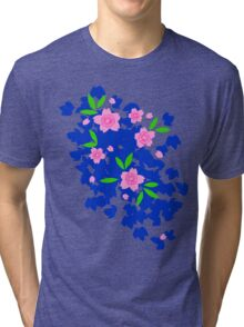 Pink Cherry Blossoms on Blue Tri-blend T-Shirt