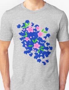 Pink Cherry Blossoms on Blue Unisex T-Shirt