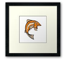 Trout Rainbow Fish Jumping Up Cartoon Framed Print