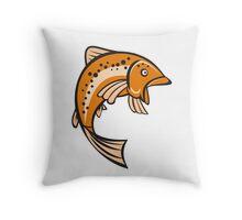 Trout Rainbow Fish Jumping Up Cartoon Throw Pillow