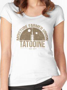 Moisture Farmer Union (brown) Women's Fitted Scoop T-Shirt