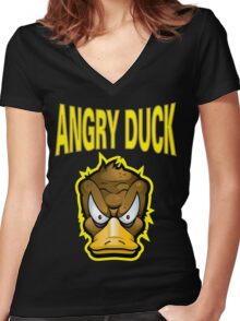 Angry Duck Women's Fitted V-Neck T-Shirt
