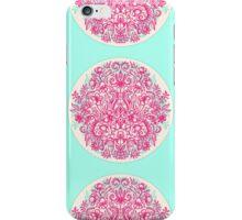 Spring Arrangement - floral doodle in pink & mint iPhone Case/Skin