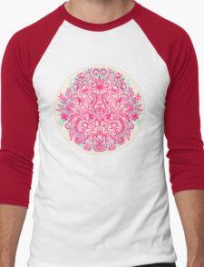 Spring Arrangement - floral doodle in pink & mint Men's Baseball ¾ T-Shirt