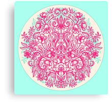 Spring Arrangement - floral doodle in pink & mint Canvas Print