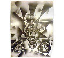 perfume bottles drawing Poster