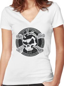 Skull Design T-Shirt Women's Fitted V-Neck T-Shirt