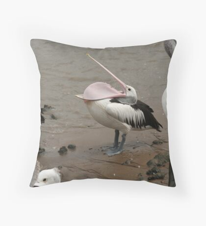pelican being silly Throw Pillow