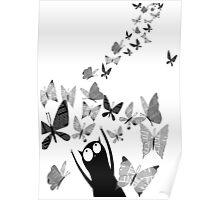 Newspaper Butterflies Poster