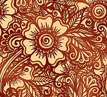 Ethnic henna pattern in Indian style by 1enchik