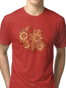Ethnic henna pattern in Indian style Tri-blend T-Shirt