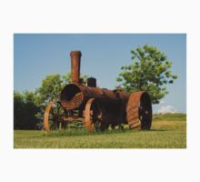 Antique Tractor - A Rusty Relic on a Farm One Piece - Short Sleeve